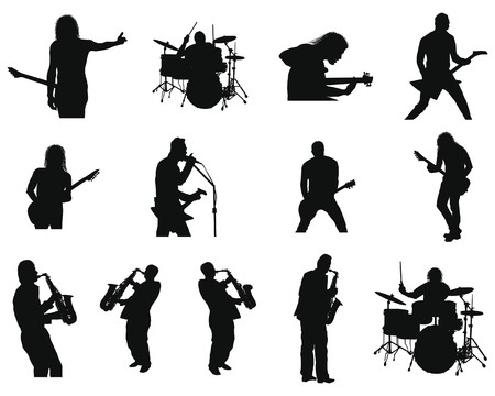 Collection of different rock and jazz silhouettes. illustration. Vector