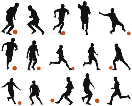 jugadores de soccer: Colecci�n de siluetas de diferentes (f�tbol). ilustraci�n.  Vectores