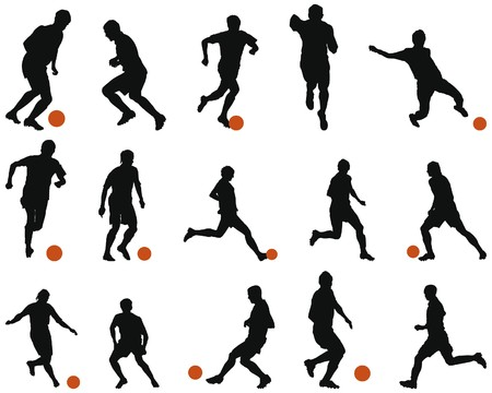 shoots: Collection of different football (soccer) silhouettes. illustration.