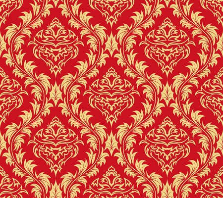 Damask seamless background.  For easy making seamless pattern just drag all group into swatches bar, and use it for filling any contours. Stock Vector - 7296283
