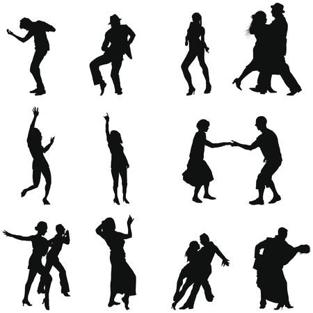 Colección de siluetas de danza diferentes. ilustración.