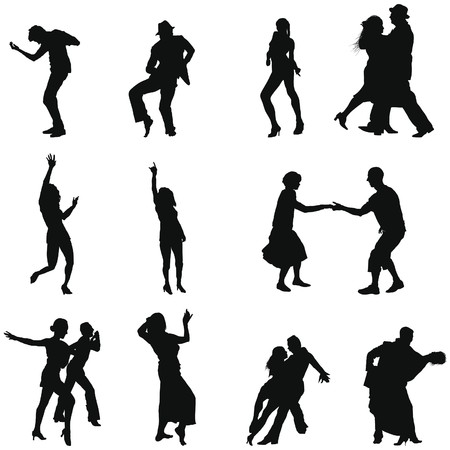танцоры: Collection of different dance silhouettes. illustration.