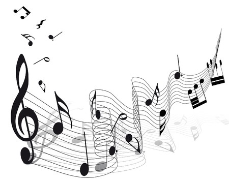 abstract melody: musical notes staff background for design use