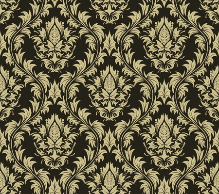 Damask seamless background.  For easy making seamless pattern just drag all group into swatches bar, and use it for filling any contours. Stock Vector - 7524375