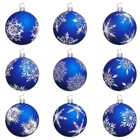 Set of Christmas (New Year) balls for design use. illustration.