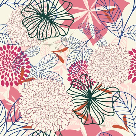 Seamless floral background. For easy making seamless pattern just drag all group into swatches bar, and use it for filling any contours. Stock Vector - 7569910