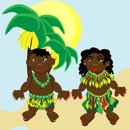 Pair of happy papuan children.  illustration. Vector