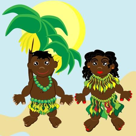 trini: Pair of happy papuan children.  illustration.