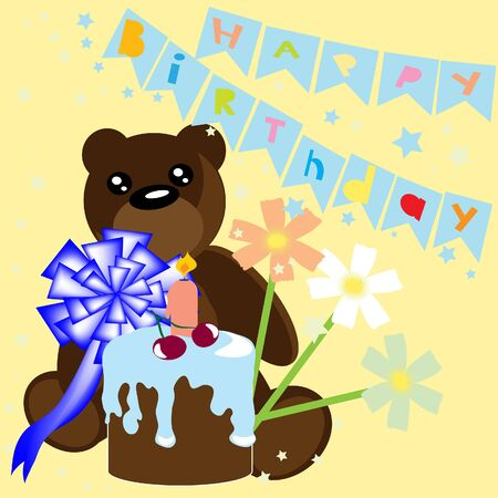 Happy birthday card with bear and cake. illustration. Vector