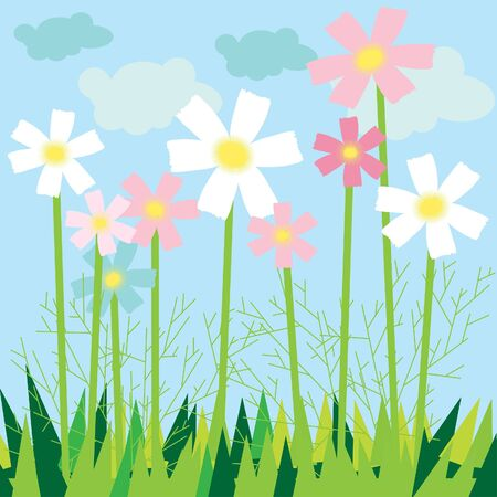meadow card. All objects are separated. Stock Vector - 7763438