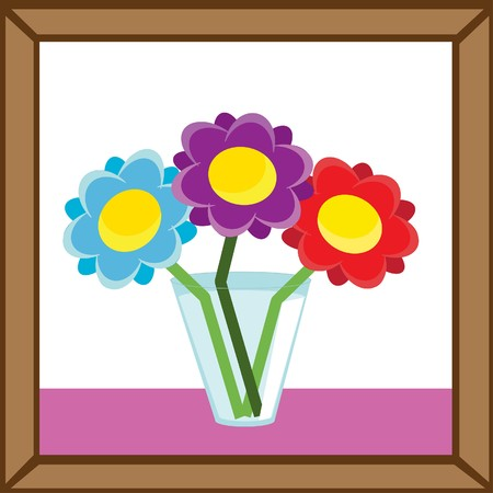 Abstract picture frame with vase and flowers.  illustrations. Vector