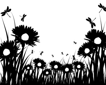 flowers silhouette:   grass silhouettes background. All objects are separated.