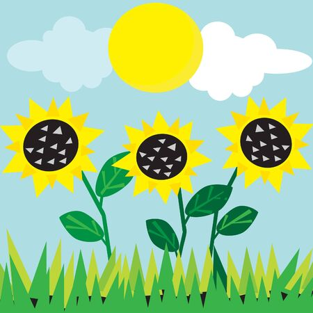 meadow card. All objects are separated. Vector