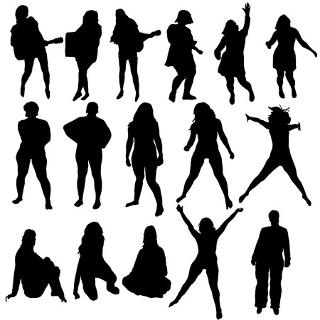 casual business team: Women silhouette set for design use.  illustration.