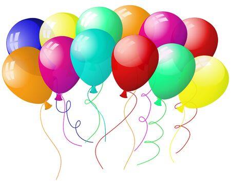 tarjeta amarilla: Hermosos globos en el aire. ilustraci�n.  Vectores