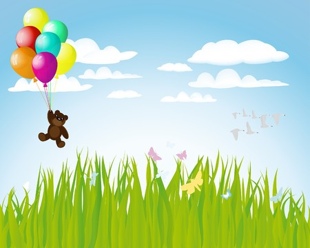 Hermosos globos en el aire. ilustración.  Vectores