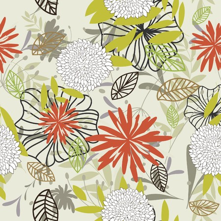 repeating pattern: Seamless floral background. For easy making seamless pattern just drag all group into swatches bar, and use it for filling any contours.