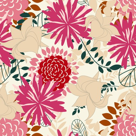 Seamless  floral background. For easy making seamless pattern just drag all group into swatches bar, and use it for filling any contours. Stock Vector - 7763672