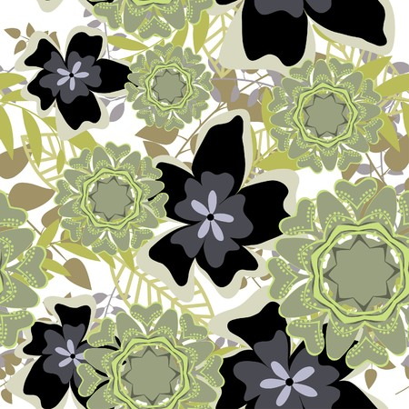 Seamless  floral background. For easy making seamless pattern just drag all group into swatches bar, and use it for filling any contours. Stock Vector - 7763675