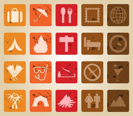 Travel set of different   web icons. Retro style. Vector