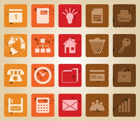 Business and office set of different  web icons. Retro style. Vector