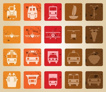 Transportation set of different  web icons. Retro style. Stock Vector - 7763745