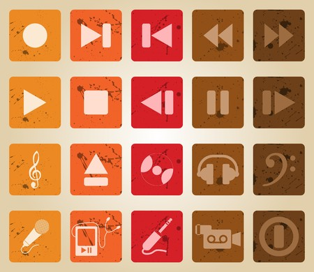 collection of different music themes icons. Retro style. Vector