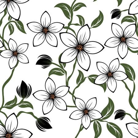 sketch pattern: Patr�n floral transparente. Para f�cil trama transparente haciendo s�lo arrastre grupo todos en barra de muestras y utilizarlo para llenar cualquier contornos.
