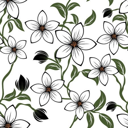 group pattern: Seamless  floral pattern. For easy making seamless pattern just drag all group into swatches bar, and use it for filling any contours.