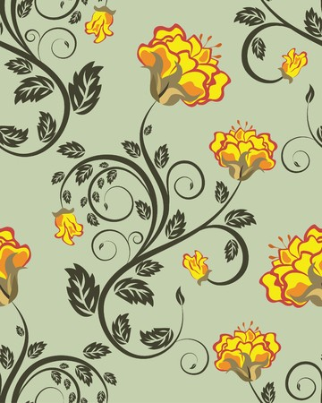 Seamless  floral pattern. For easy making seamless pattern just drag all group into swatches bar, and use it for filling any contours. Stock Vector - 7763539