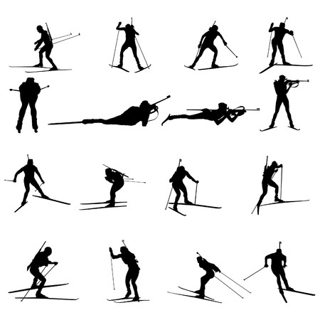Set of biathlon sportsman silhouettes.  illustration. Stock Vector - 7800347