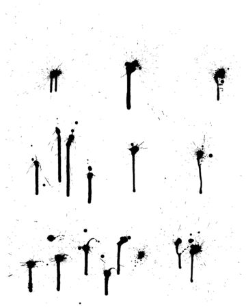 inkblots: Abstract grunge   background set for design use.  Illustration