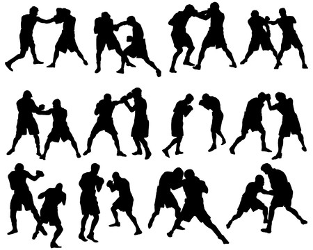 boxing: Set of different boxing silhouettes.   illustration. Illustration