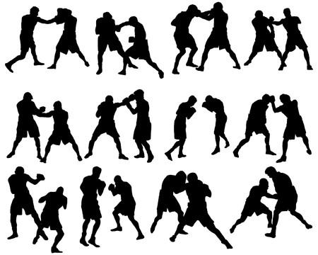 boksör: Set of different boxing silhouettes.   illustration. Çizim