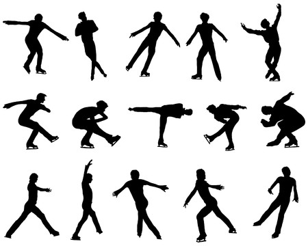 figure skater: Figure skate man silhouette set for design use