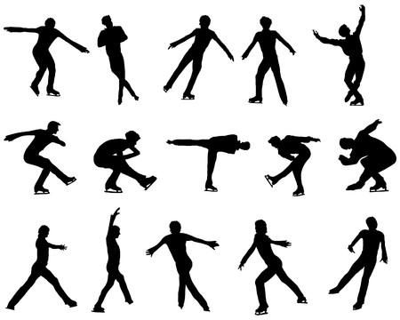 Figure skate man silhouette set for design use Stock Vector - 7800348