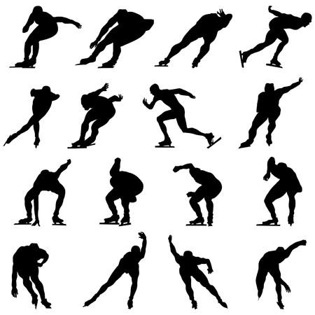 skaters: Skating man silhouette set for design use