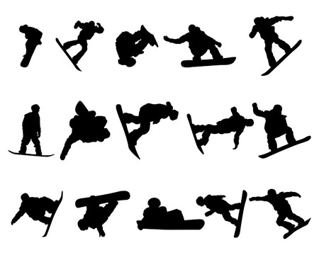 snowboarding: Snowboarder man silhouette set for design use