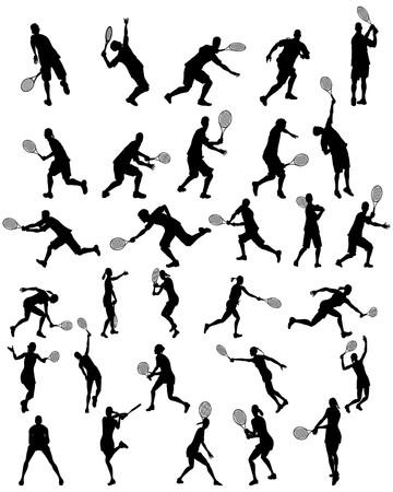 Set da silhouette tennis per uso design. illustrazione.