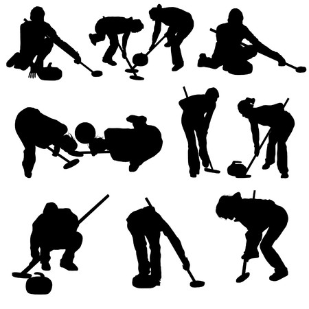 curling: Curling silhouette set for design use.   illustration.