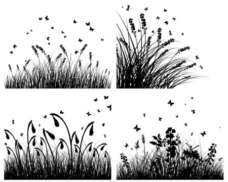 Set of four   grass silhouettes backgrounds  Vector