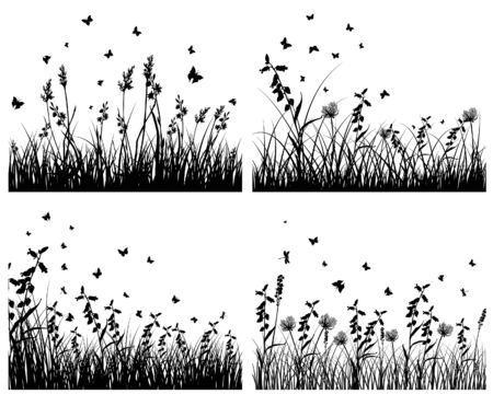 grass land: Conjunto de cuatro fondos de siluetas de hierba  Vectores