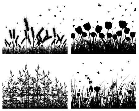 Set of four  grass silhouettes backgrounds Stock Vector - 7822703