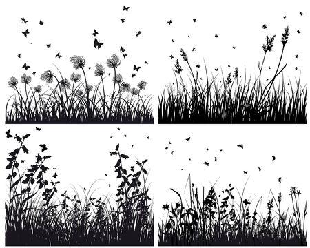 Satz von vier Gras Silhouetten Hintergründe