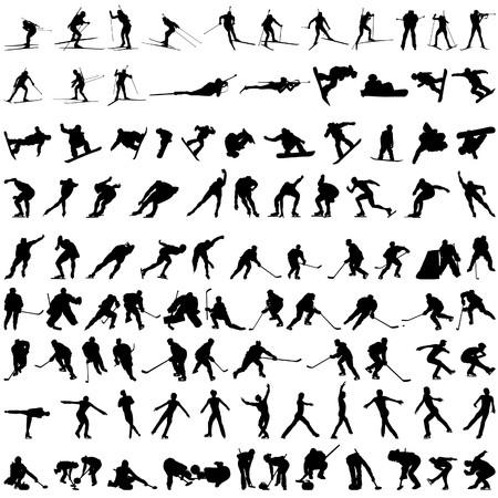 Conjunto de siluetas de deporte de invierno. ilustración.