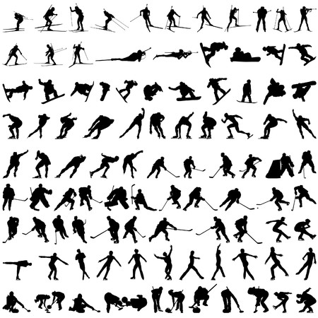 athletic symbol: Set of winter sport silhouettes.   illustration.