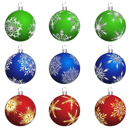 Set of Christmas (New Year) balls for design use. illustration. Vector