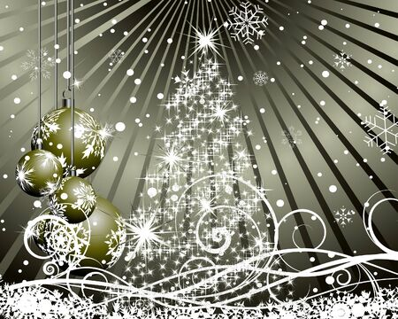 fir tree balls: Beautiful vector Christmas (New Year) background for design use