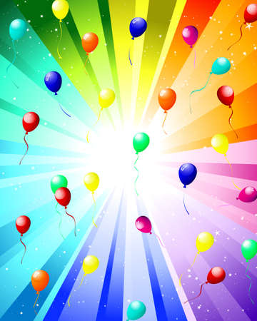 Festive rays with many stars and balloons.  illustration. Vector