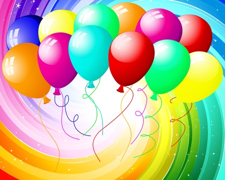 rainbow color star: Festive rays with many stars and balloons.  illustration. Illustration